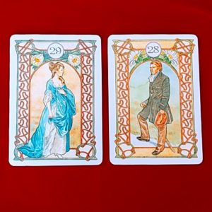 アールヌーボー・ルノルマンカードの紳士と淑女のカード
