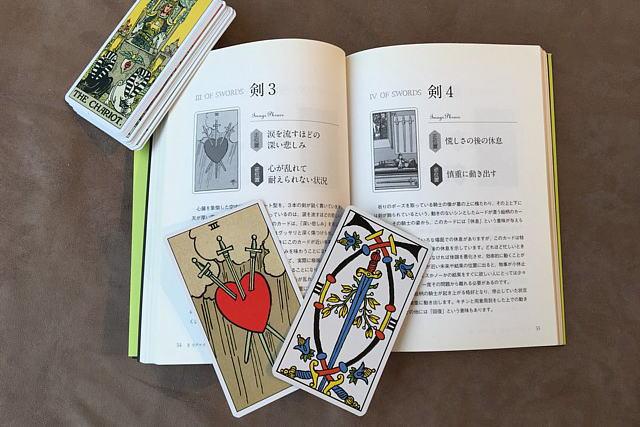 マルセイユ版とウェイト版のソードの3のカードと解説書